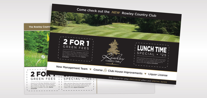Postcard design for Rowley Country Club as part of a plan to attract new members.