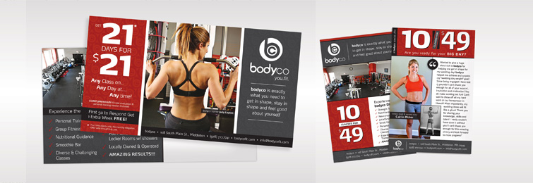 A few of the marketing pieces BTG put together for bodyco in an effort to increase memberships at the gym.